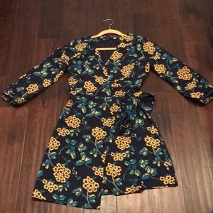 J crew navy and yellow floral wrap dress 0